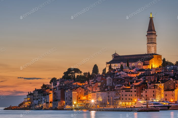 View to the beautiful old town of Rovinj