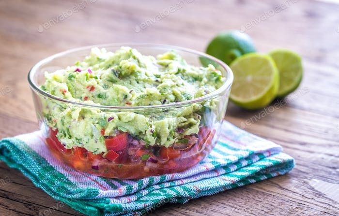 Thumbnail for Bowl of guacamole with salsa