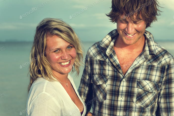 Couple Beach Cheerful Dating Destination Fun Concept