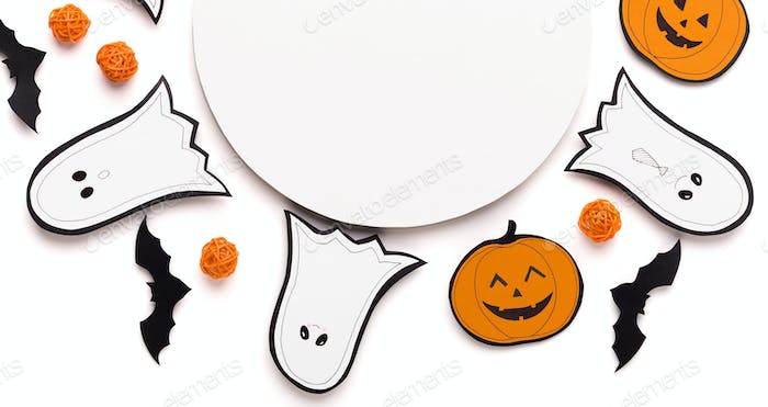 Happy Halloween background with traditional cute figures