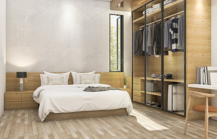 3d rendering nice wood contemporary bedroom with nice cloth cabinet