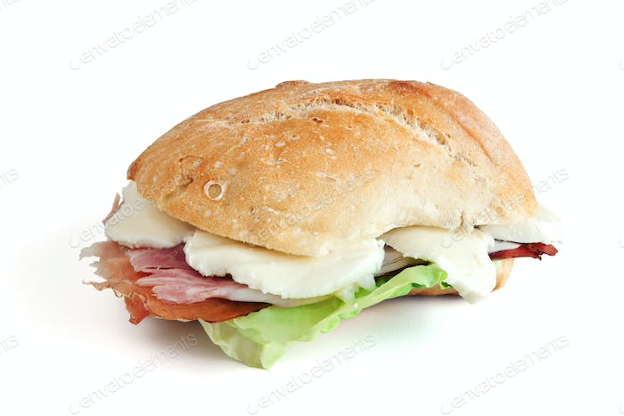 ham mozzarella and lettuce sandwhich