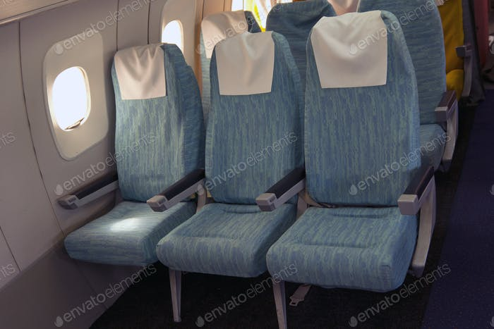 Comfortable seats in aircraft cabin Tu-144.