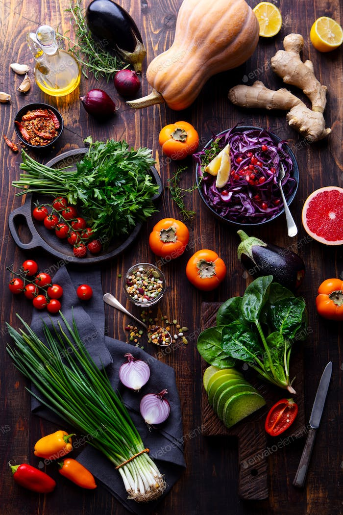 Assortment of Fresh Raw Vegetables on a Wooden Background. Top View.
