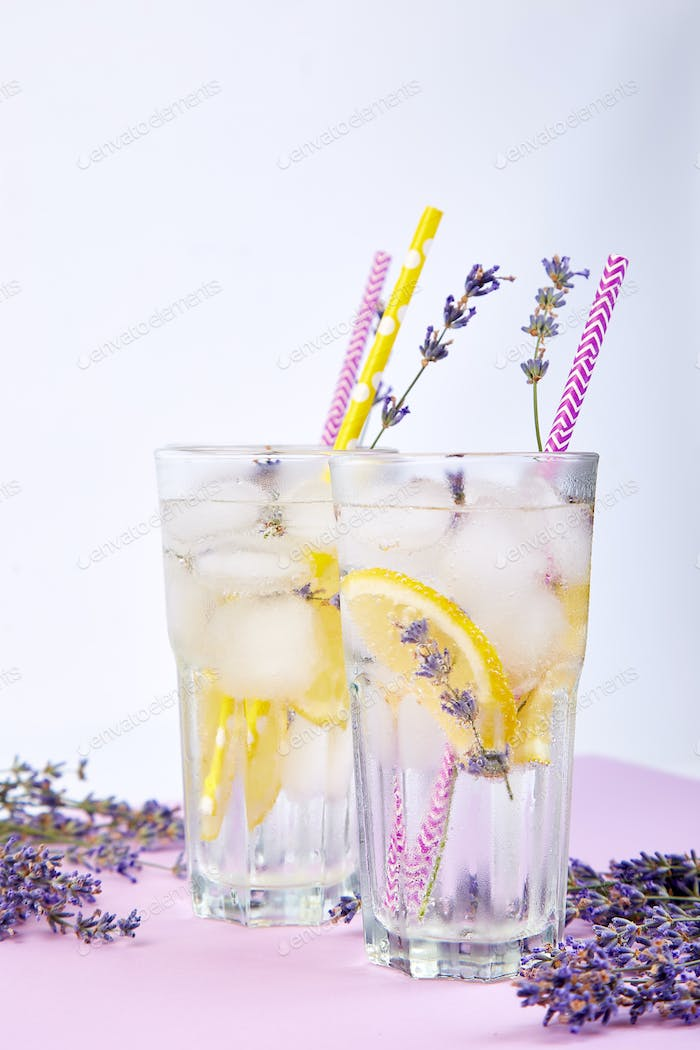 Lavender lemonade with lemon