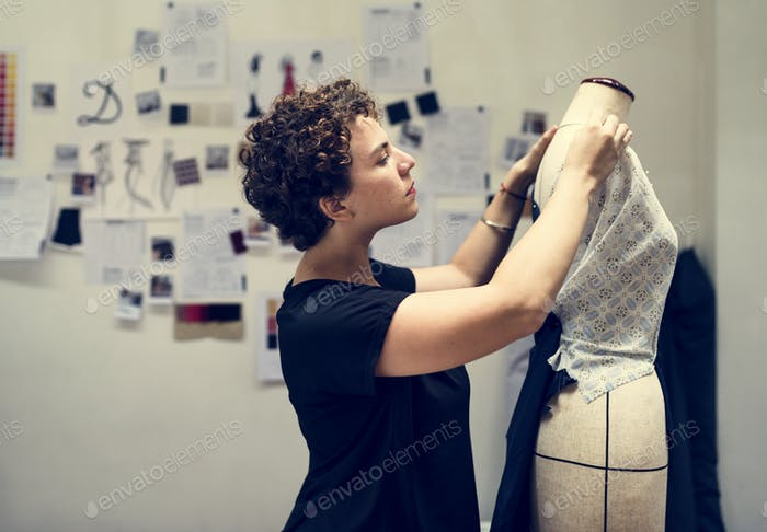 Woman checking on a dress