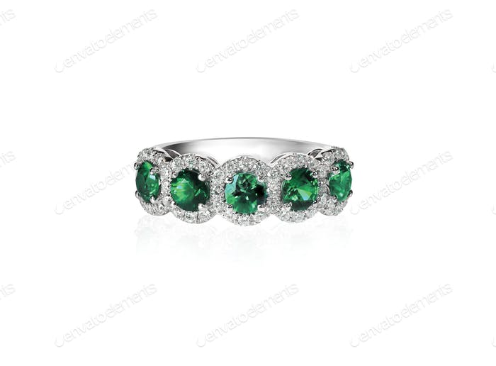green emerald and diamond wedding band ring