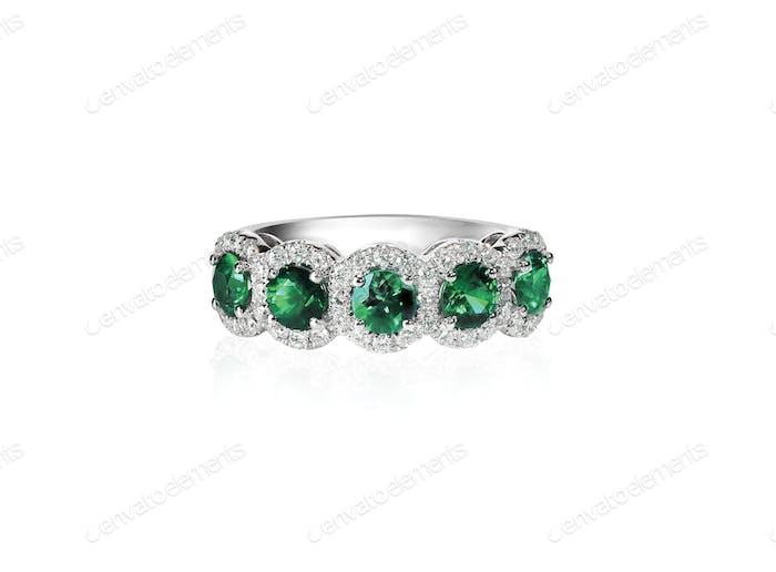 grüner Smaragd und Diamant Ehering