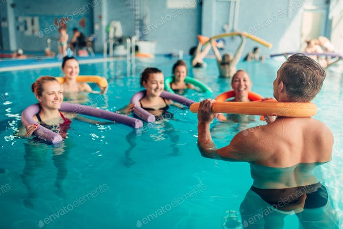 Thumbnail for Aqua aerobics exercises, women with male trainer