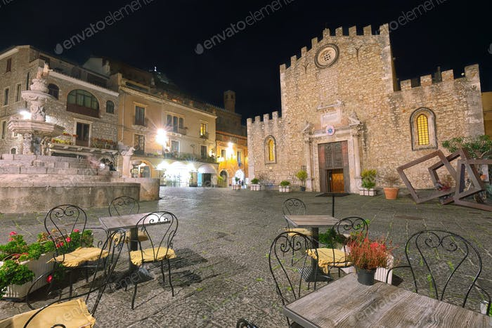Cathedral of Taormina and fountain on the square Piazza Duomo in Taormina at night