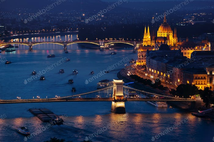 Budapest Parliament and famous Bridges
