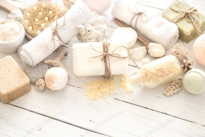 objects Spa on a light wooden background