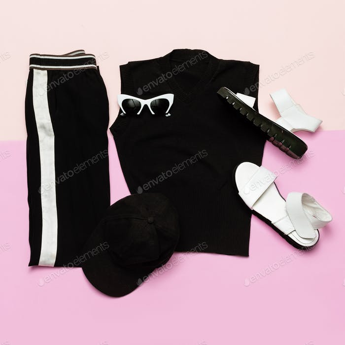 Black Fashion clothing set. For woman. Urban sport casual style