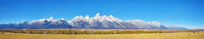 Panoramic picture of the Grand Teton Mountain Range.