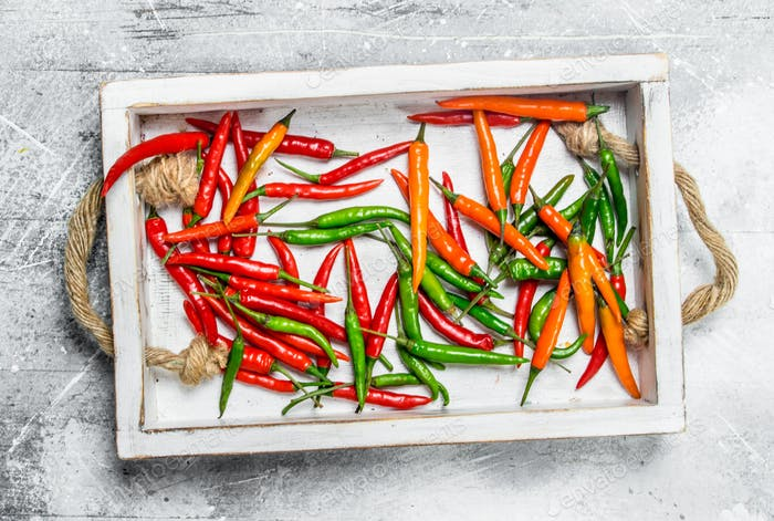 Spicy flavorful pepper on the tray.