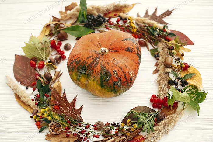 Pumpkin in autumn wreath of fall leaves