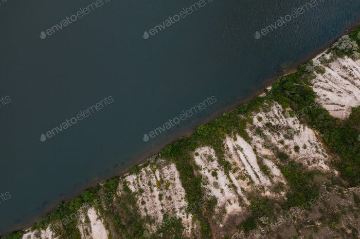 Top view of amazing natural view of lake sore