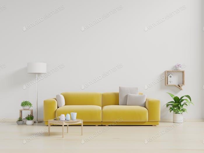 Living room with fabric yellow sofa.