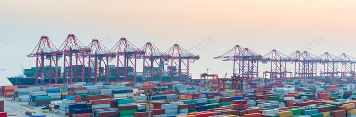 port of shanghai yangshan at dusk
