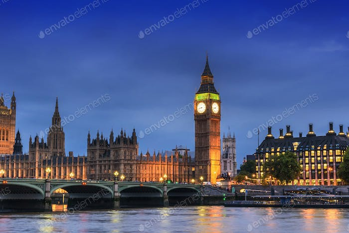 Big Ben and House of Parliament, London, UK, in the dusk evening