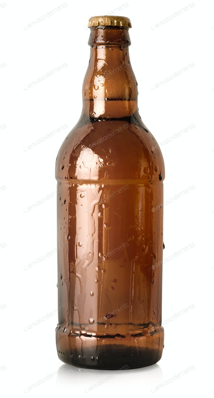 Beer in a brown bottle isolated
