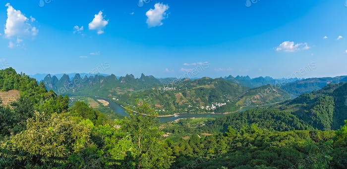 Panorama of Yangshuo karst landscape seen from Xianggong Hill