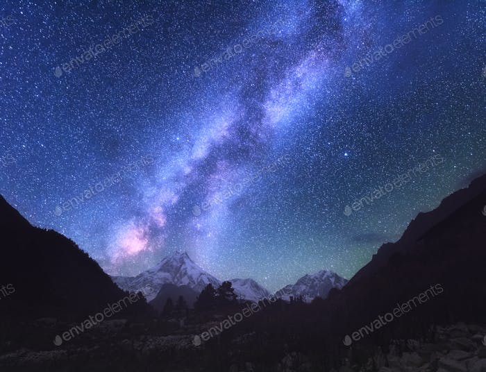 Space. Milky Way. Scene with himalayan mountains