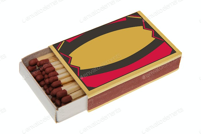 Box with matches on a white background