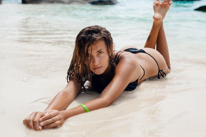 young slim woman, beautiful perfect body, tanned skin, bikini swimsuit