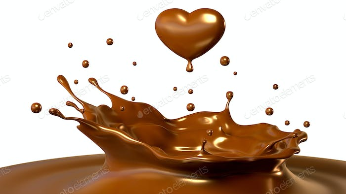 Drop of chocolate in form of heart