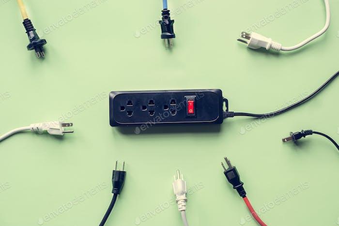 Stromversorgungsstecker und Steckdose