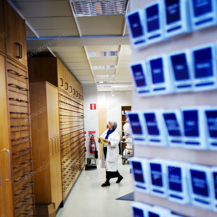 Female scientist working in pharmacy