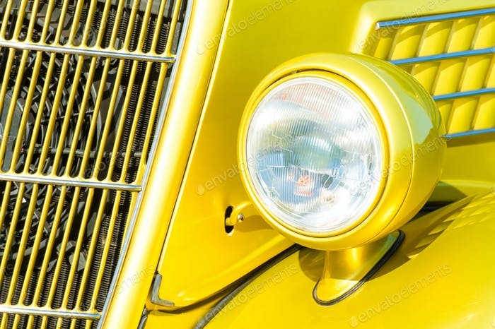 car grille and headlight