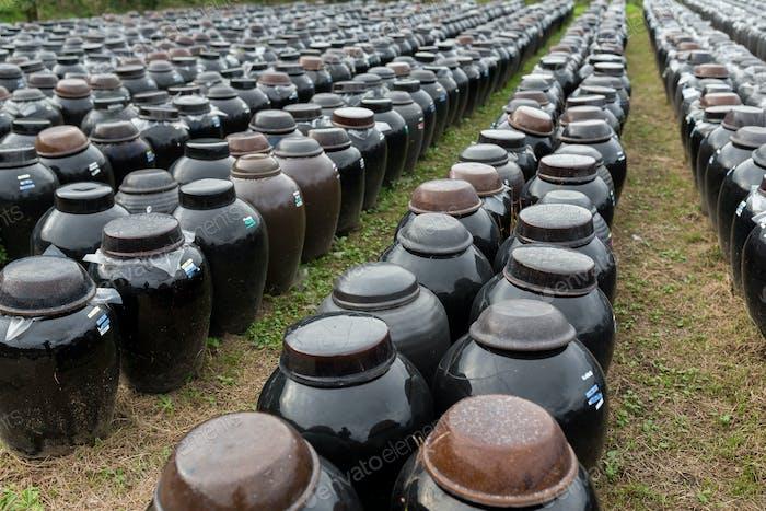Barrel of Vinegar store in outdoor
