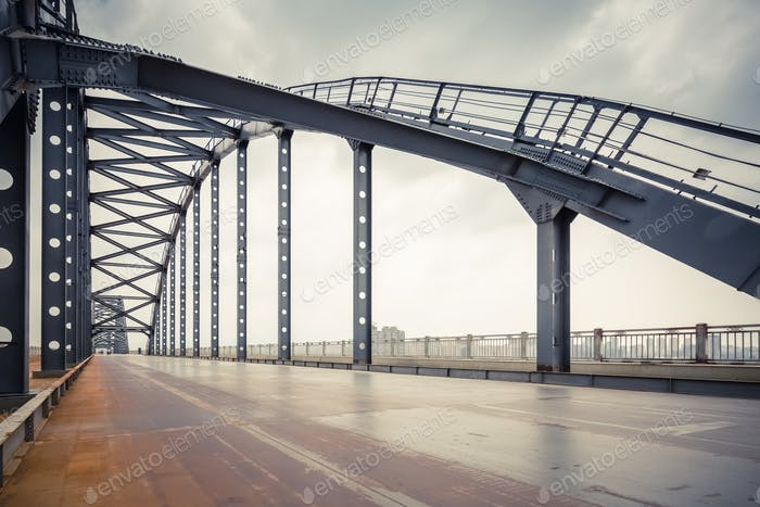 steel bridge and road in jiujiang , China