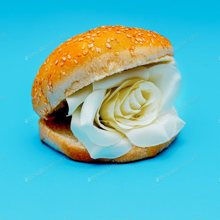 Roses burger surreal fashion art