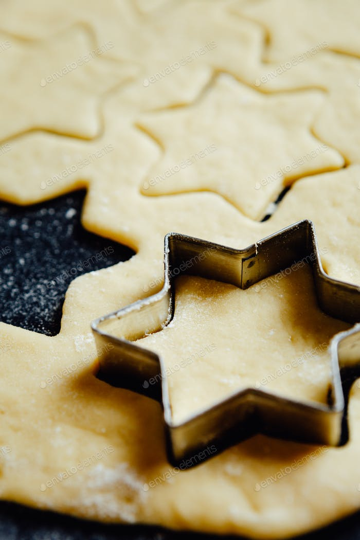 Star form placed in cookie dough
