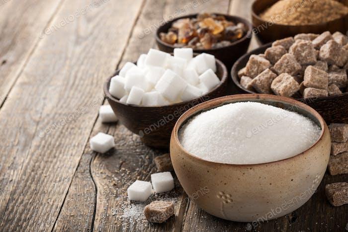 Various sugar in bowls