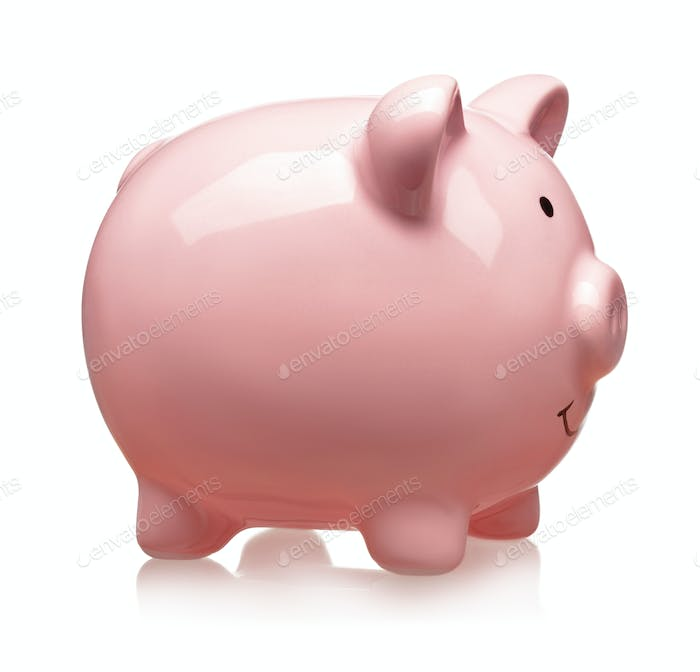 Pink ceramic piggy bank