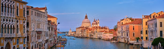 Panorama of Venice Grand Canal and Santa Maria della Salute church on sunset