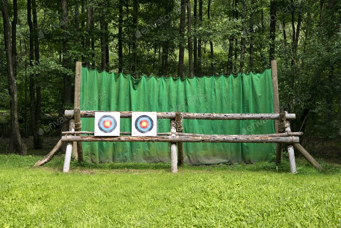55302,Targets on fence at archery range