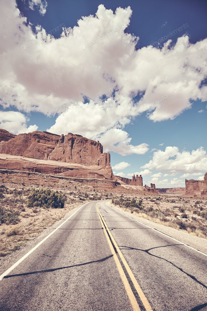Scenic road in Arches National Park, USA.