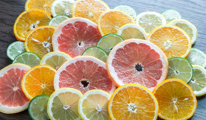 Slices of citrus fruits