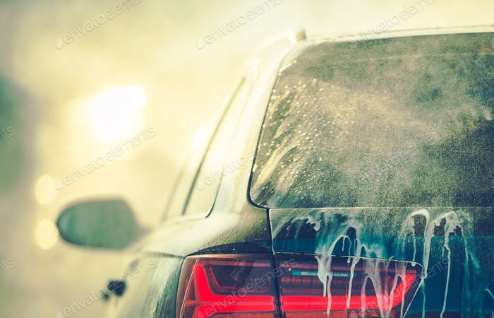 Cleaning Vehicle in Car Wash