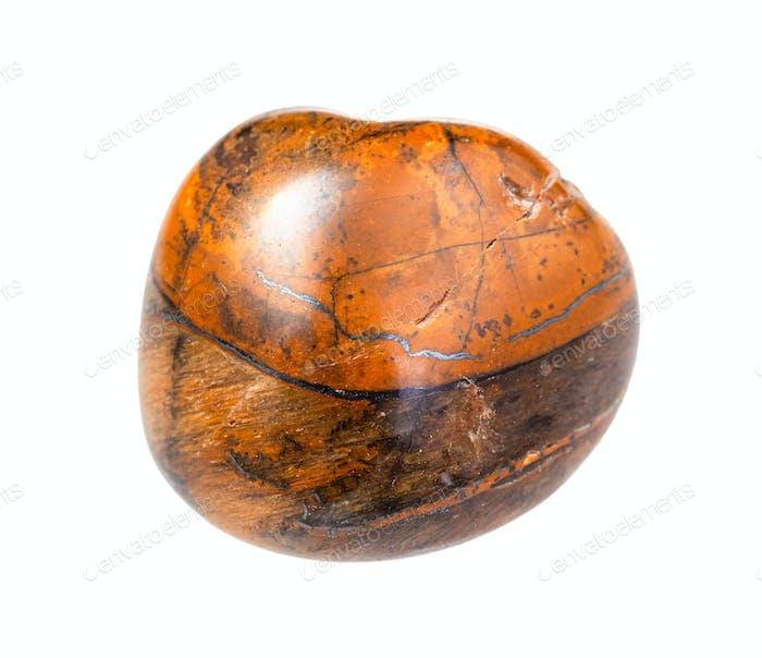 Tiger-eye gem stone isolated on white