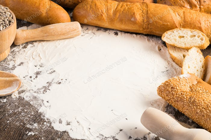 harina y pan blanco