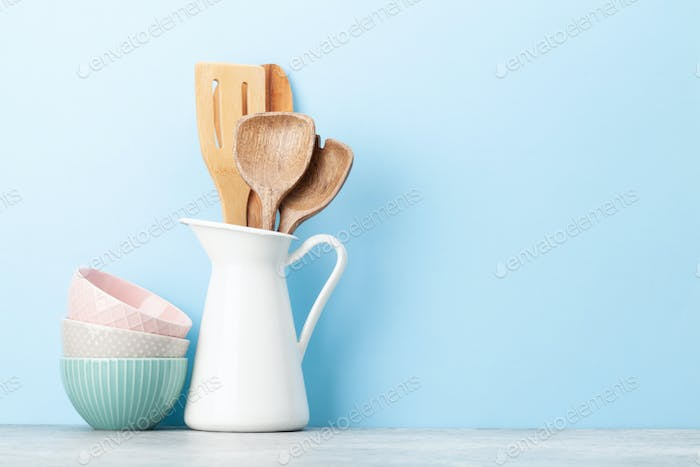 Kitchen utensils and dishes