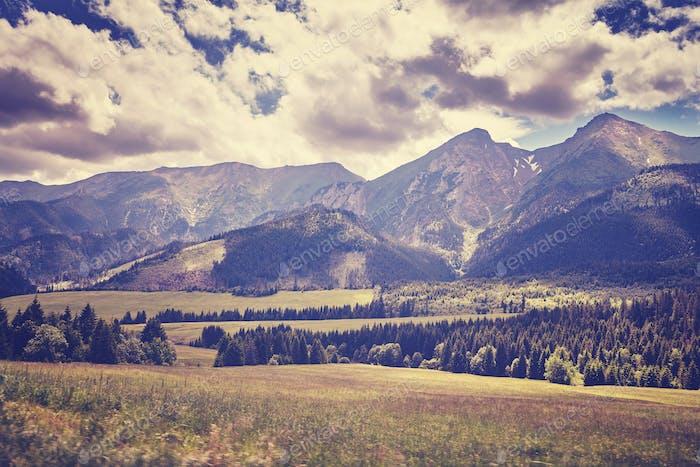 Retro old film stylized photo of High Tatra Mountains, Slovakia