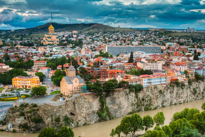 Tbilisi, Georgia. Scenic View Cityscape Of Summer Old Town. Mete