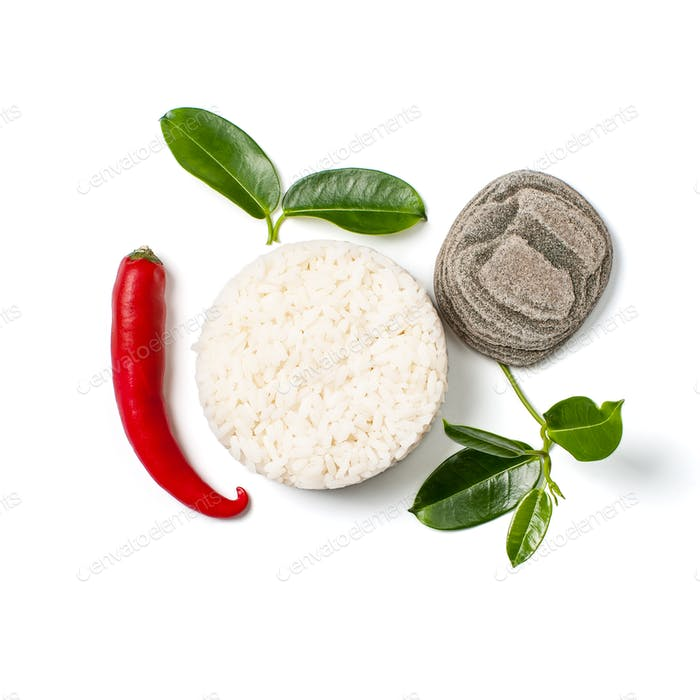 Rice and chili pepper on white background.